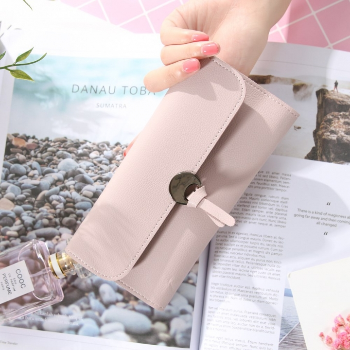 Handbag Multicolor Ms Wallet In the long Section Solid Color Knot Fold Sallet The New Lady bags Pink and purple one size