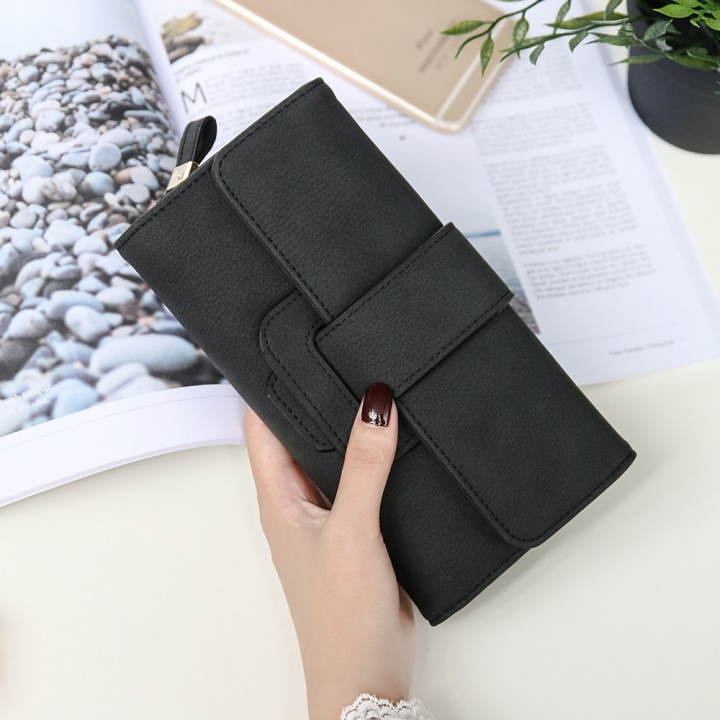Ms Wallet fashion Long Section portable Three Packs Coin Purse Multifunction Buckle Wallet Card Pack black one size