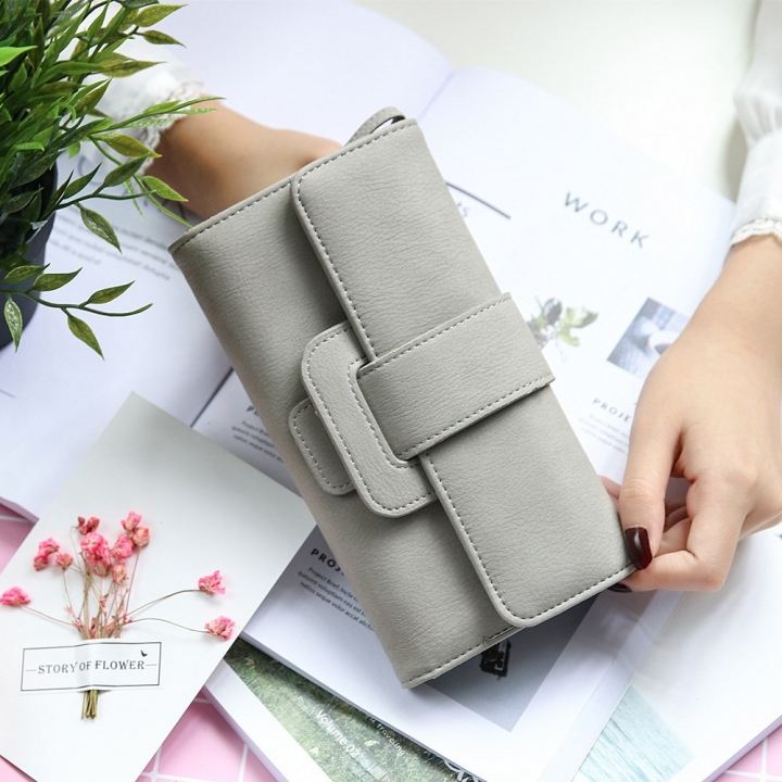 Ms Wallet fashion Long Section portable Three Packs Coin Purse Multifunction Buckle Wallet Card Pack gray one size