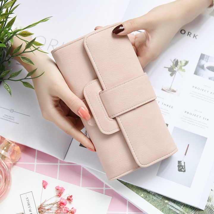 Ms Wallet fashion Long Section portable Three Packs Coin Purse Multifunction Buckle Wallet Card Pack pink one size
