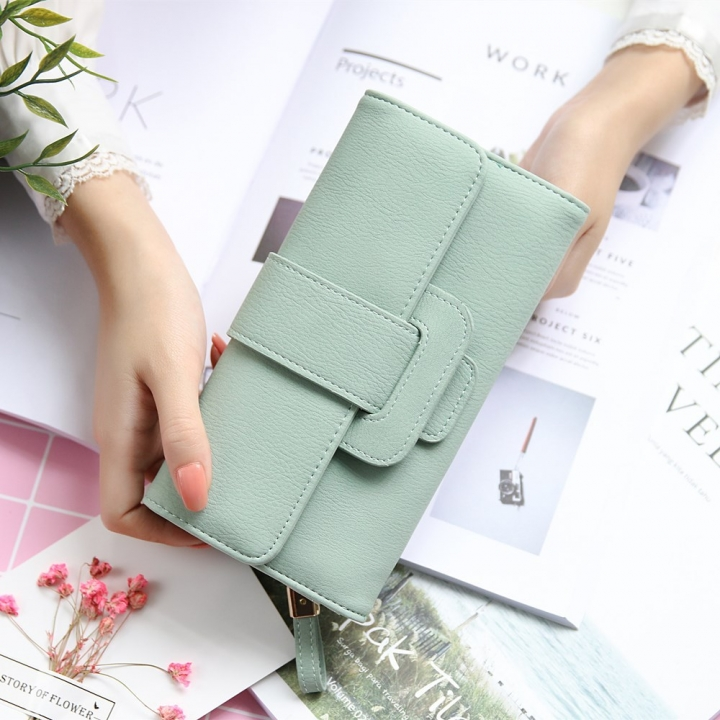 Ms Wallet fashion Long Section portable Three Packs Coin Purse Multifunction Buckle Wallet Card Pack ligth green one size