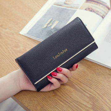 Ms Wallet Long Section Wallet High Capacity Retro Female Three Fold Wallet Handbag Wallets black one size