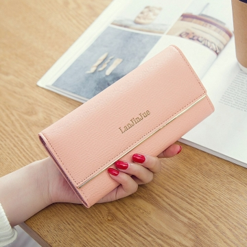 Ms Wallet Long Section Wallet High Capacity Retro Female Three Fold Wallet Handbag Wallets ligth pink one size