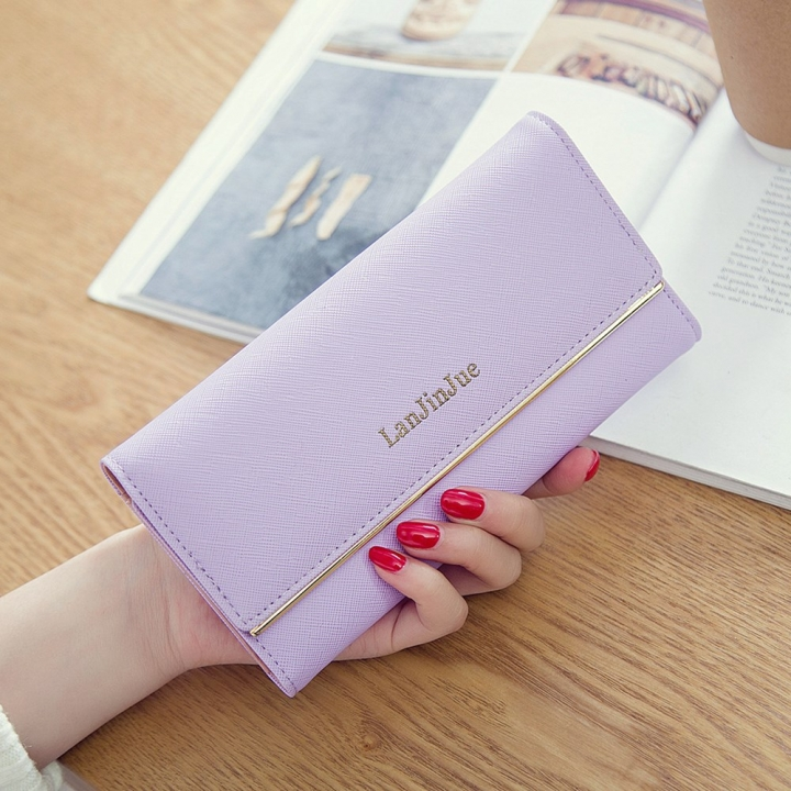 Ms Wallet Long Section Wallet High Capacity Retro Female Three Fold Wallet Handbag Wallets ligth purple one size