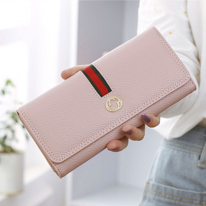 Female Long Section Wallet Simple Litchi Pattern Three Fold Pumping Belt Ms Wallet Wallet pink one size