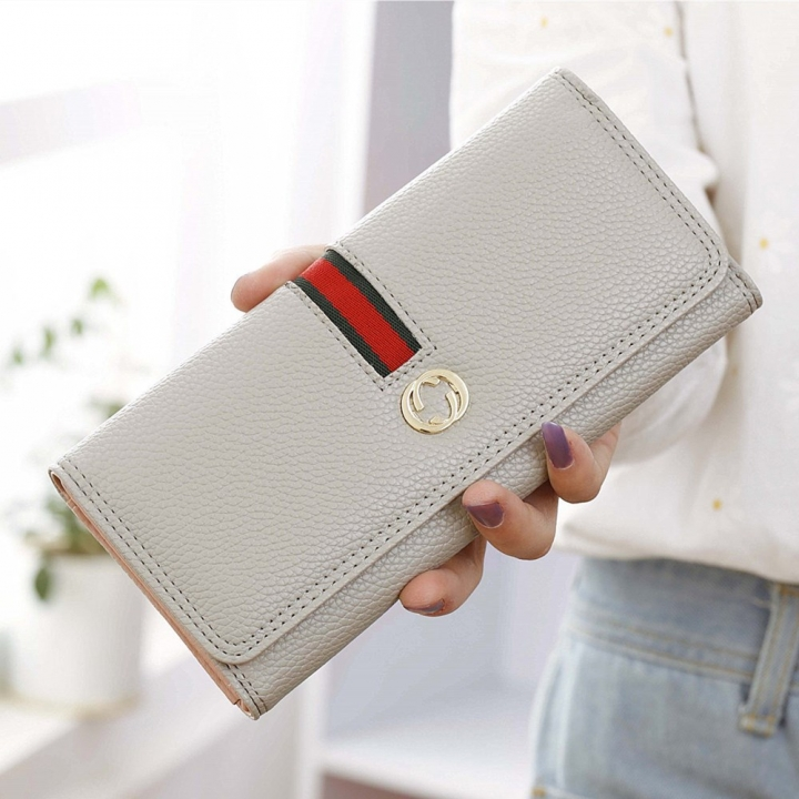 Female Long Section Wallet Simple Litchi Pattern Three Fold Pumping Belt Ms Wallet Wallet gray one size