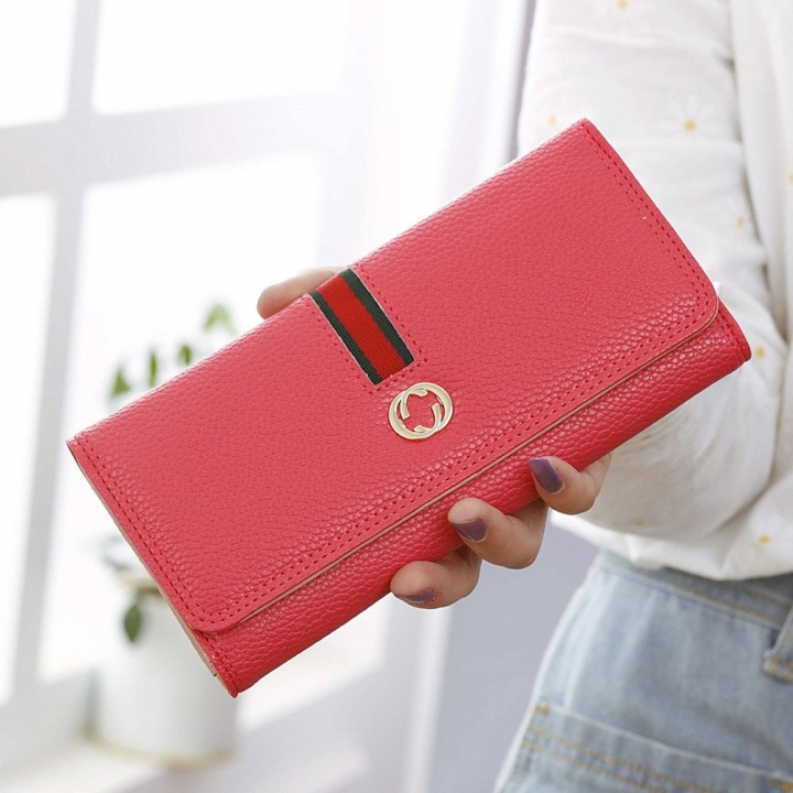Female Long Section Wallet Simple Litchi Pattern Three Fold Pumping Belt Ms Wallet Wallet watermelon red one size