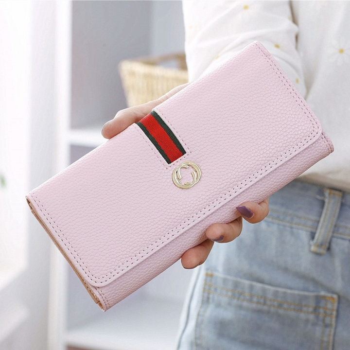 Female Long Section Wallet Simple Litchi Pattern Three Fold Pumping Belt Ms Wallet Wallet ligth pink one size