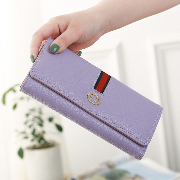 Female Long Section Wallet Simple Litchi Pattern Three Fold Pumping Belt Ms Wallet Wallet ligth purple one size