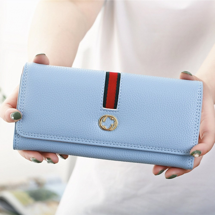 Female Long Section Wallet Simple Litchi Pattern Three Fold Pumping Belt Ms Wallet Wallet ligth green one size