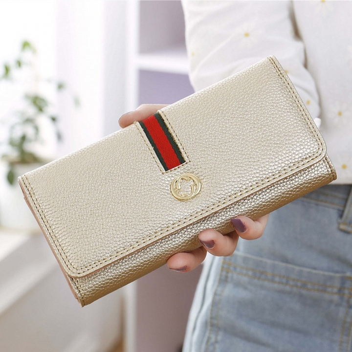Female Long Section Wallet Simple Litchi Pattern Three Fold Pumping Belt Ms Wallet Wallet golden one size