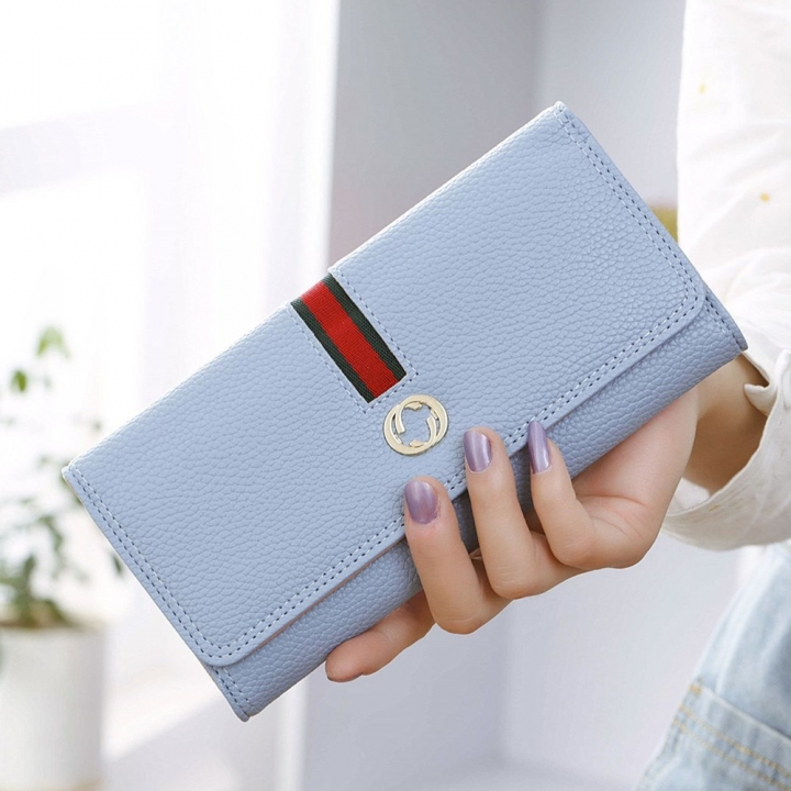 Female Long Section Wallet Simple Litchi Pattern Three Fold Pumping Belt Ms Wallet Wallet sky blue one size