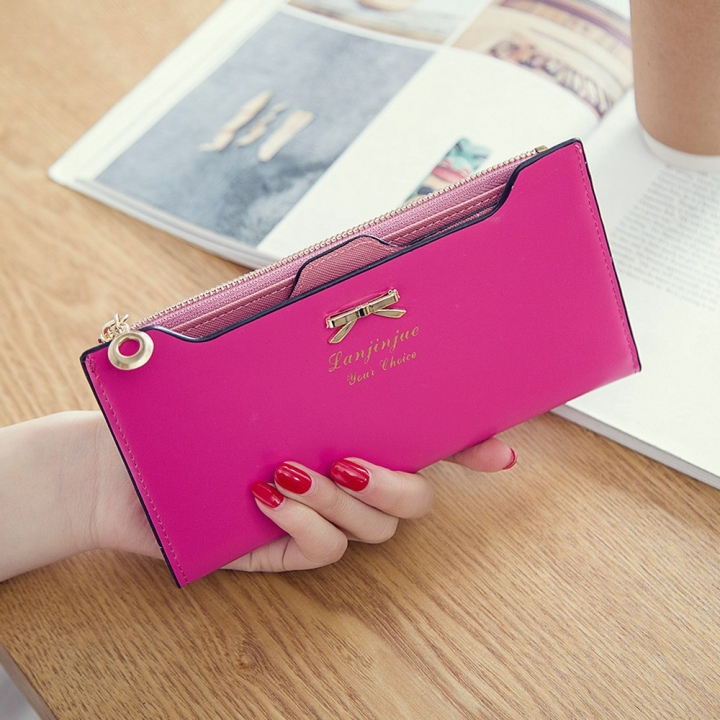 Fashion Female Wallet lovely Bow Tie Card Type Multi-card Bit Package Ms Long Section Wallet pink one size