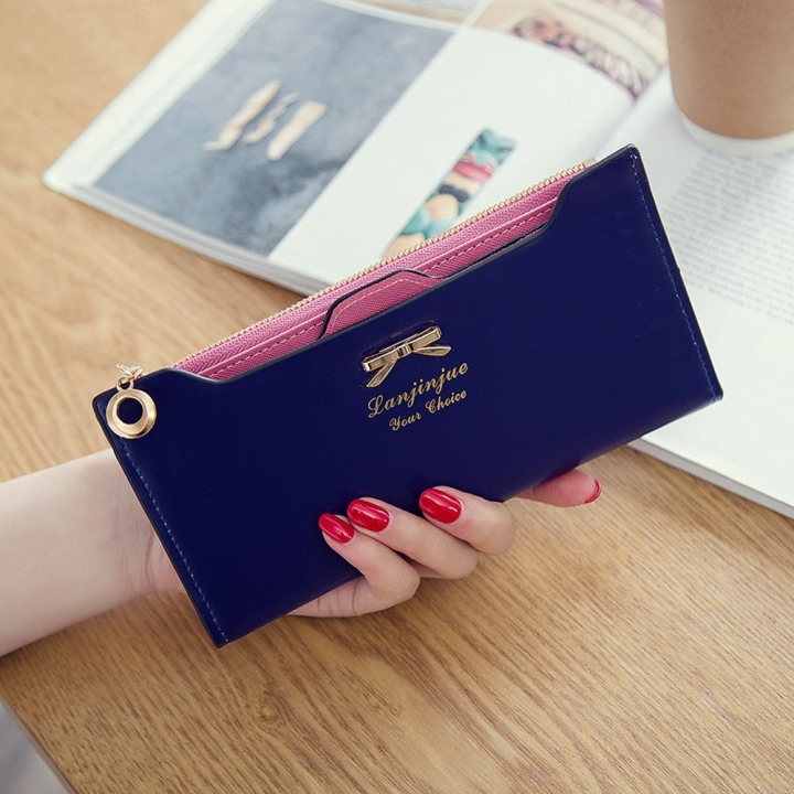 Fashion Female Wallet lovely Bow Tie Card Type Multi-card Bit Package Ms Long Section Wallet dark blue one size