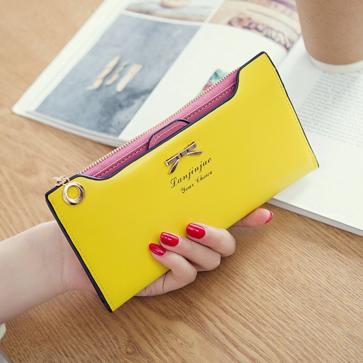 Fashion Female Wallet lovely Bow Tie Card Type Multi-card Bit Package Ms Long Section Wallet yellow one size