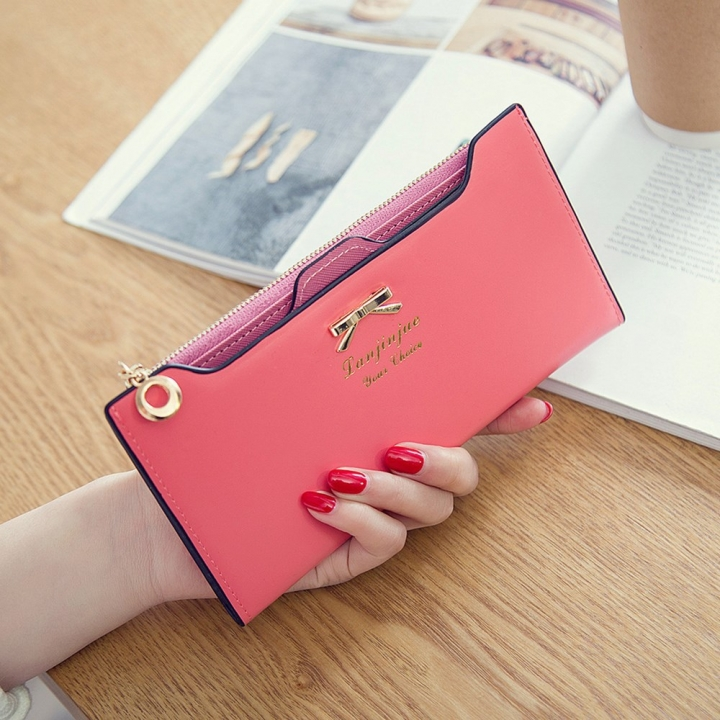 Fashion Female Wallet lovely Bow Tie Card Type Multi-card Bit Package Ms Long Section Wallet watermelon red one size