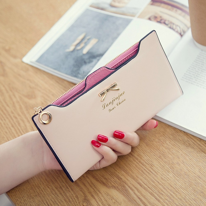 Fashion Female Wallet lovely Bow Tie Card Type Multi-card Bit Package Ms Long Section Wallet ligth pink one size