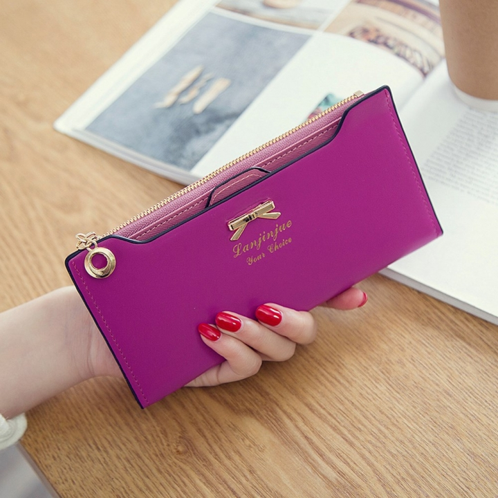 Fashion Female Wallet lovely Bow Tie Card Type Multi-card Bit Package Ms Long Section Wallet rose red one size