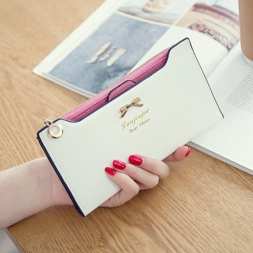 Fashion Female Wallet lovely Bow Tie Card Type Multi-card Bit Package Ms Long Section Wallet white one size