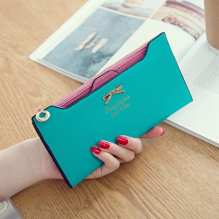 Fashion Female Wallet lovely Bow Tie Card Type Multi-card Bit Package Ms Long Section Wallet green one size