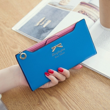 Fashion Female Wallet lovely Bow Tie Card Type Multi-card Bit Package Ms Long Section Wallet ligth blue one size