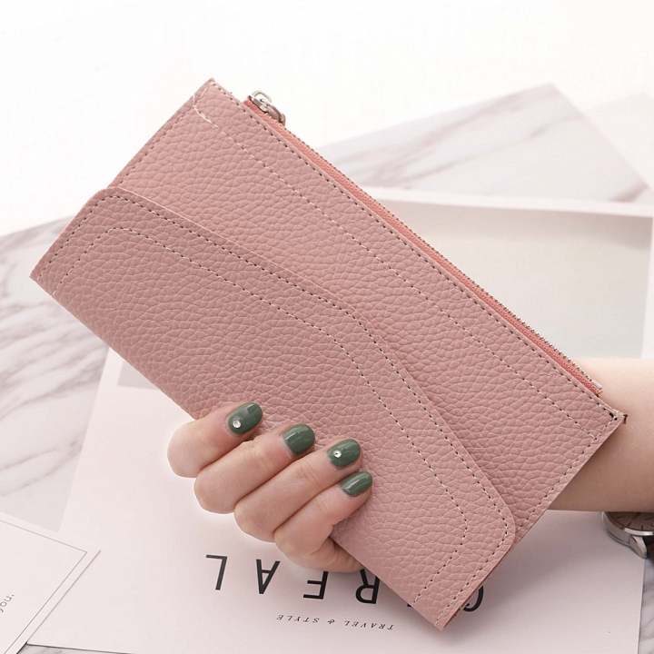 Ms Long Section Wallet Retro Lady Bags Coin Purse Fashion Ms Hand Bag pink one size