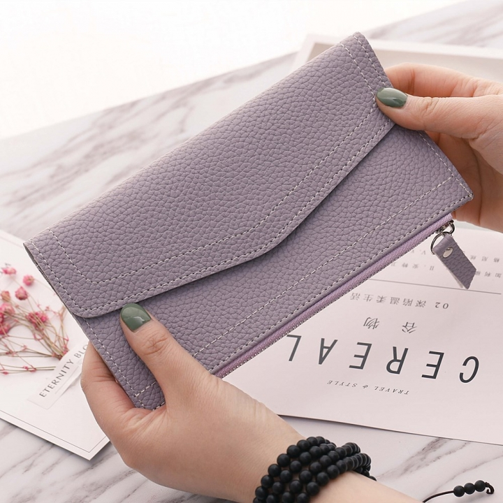 Ms Long Section Wallet Retro Lady Bags Coin Purse Fashion Ms Hand Bag ligth purple one size