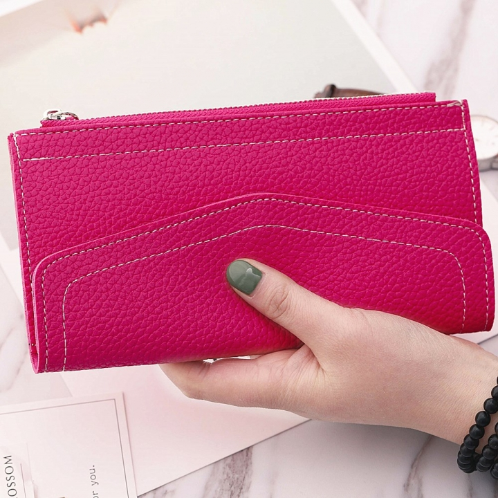 Ms Long Section Wallet Retro Lady Bags Coin Purse Fashion Ms Hand Bag rose red one size