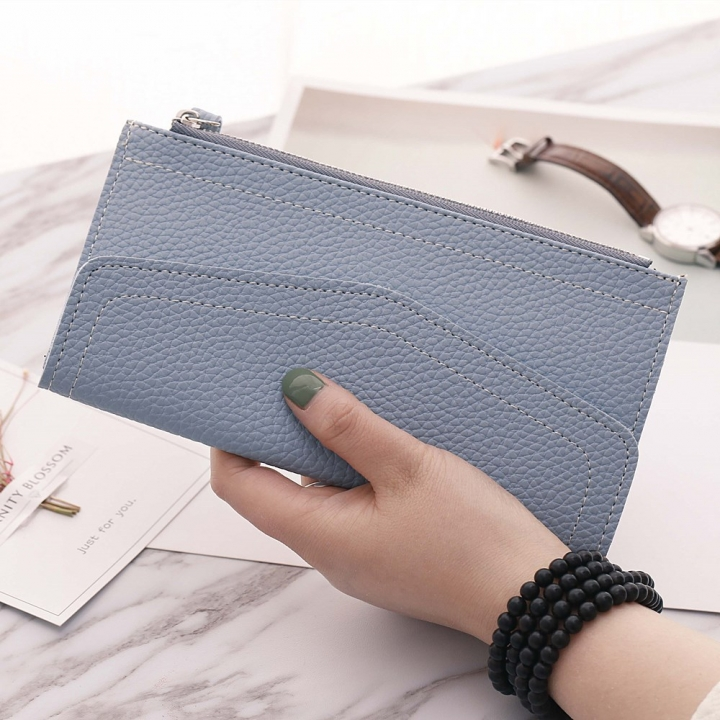 Ms Long Section Wallet Retro Lady Bags Coin Purse Fashion Ms Hand Bag sky blue one size