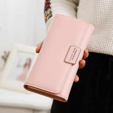 Ms Wallet Simple Fashion Female long Section Three Packs High Capacity Multi-Card Bit Student Wallet ligth pink one size