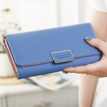 Ms Wallet Simple Fashion Female long Section Three Packs High Capacity Multi-Card Bit Student Wallet blue one size