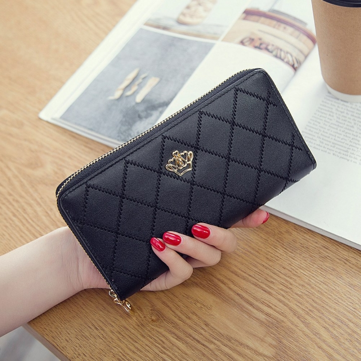 The New Long Section Ms Wallet Fashion Zipper Card Pack Female Hand bag Coin Purse black one size
