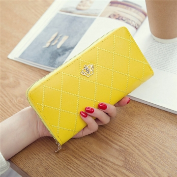 The New Long Section Ms Wallet Fashion Zipper Card Pack Female Hand bag Coin Purse yellow one size