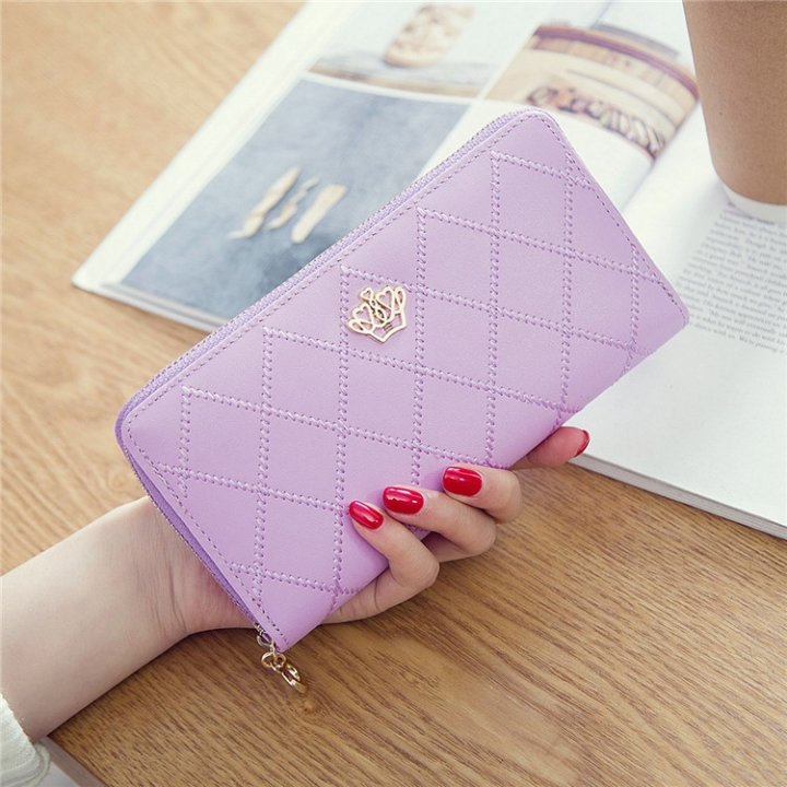 The New Long Section Ms Wallet Fashion Zipper Card Pack Female Hand bag Coin Purse ligth purple one size