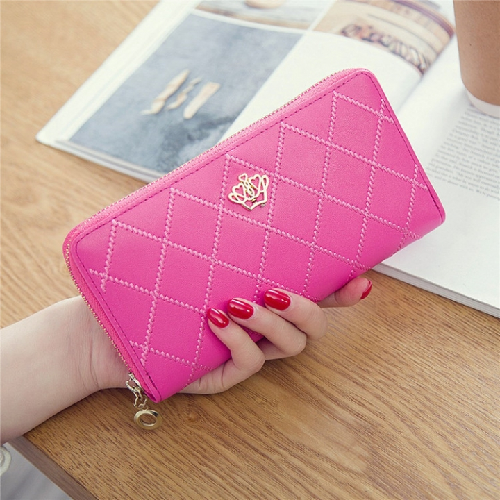 The New Long Section Ms Wallet Fashion Zipper Card Pack Female Hand bag Coin Purse pink red one size