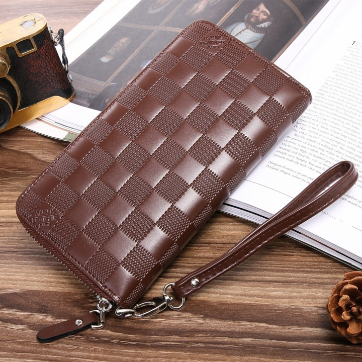 Men Wallet Long Section Zipper Hand Bag Male Bag Lattice Fashion Wallet coffee one size