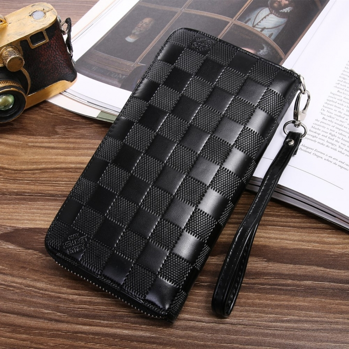 Men Wallet Long Section Zipper Hand Bag Male Bag Lattice Fashion Wallet black one size