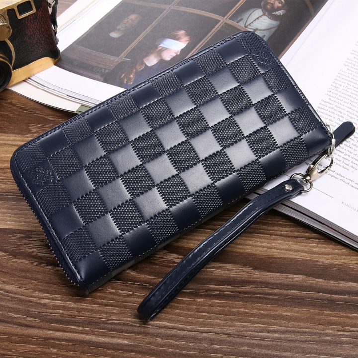 Men Wallet Long Section Zipper Hand Bag Male Bag Lattice Fashion Wallet blue one size
