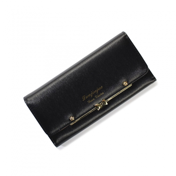 Ms Wallet Buckle Lovely Female Student Three Fold Wallet Female Long Section High Quality Wallet black one size