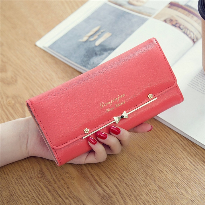 Ms Wallet Buckle Lovely Female Student Three Fold Wallet Female Long Section High Quality Wallet watermelon red one size
