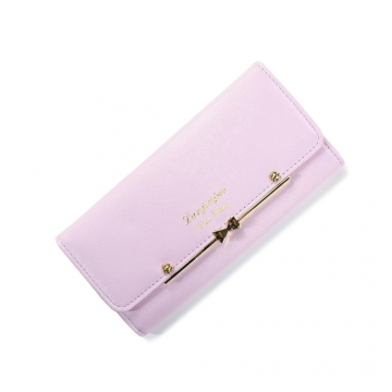 Ms Wallet Buckle Lovely Female Student Three Fold Wallet Female Long Section High Quality Wallet ligth purple one size