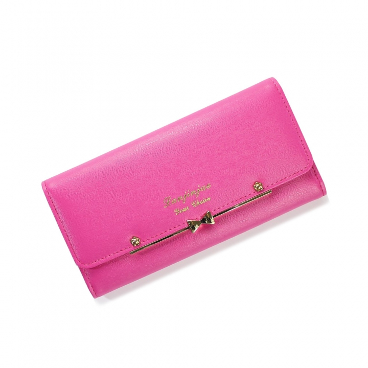 Ms Wallet Buckle Lovely Female Student Three Fold Wallet Female Long Section High Quality Wallet rose red one size