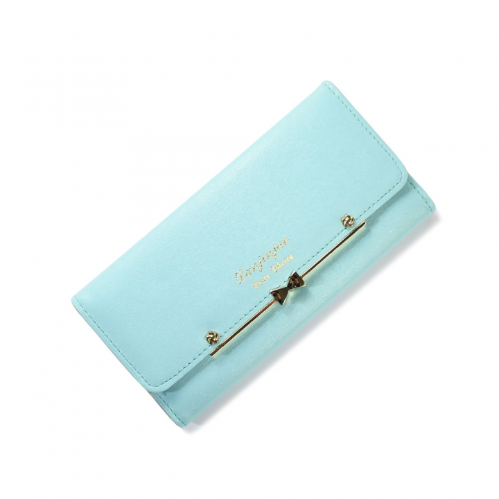 Ms Wallet Buckle Lovely Female Student Three Fold Wallet Female Long Section High Quality Wallet ligth green one size