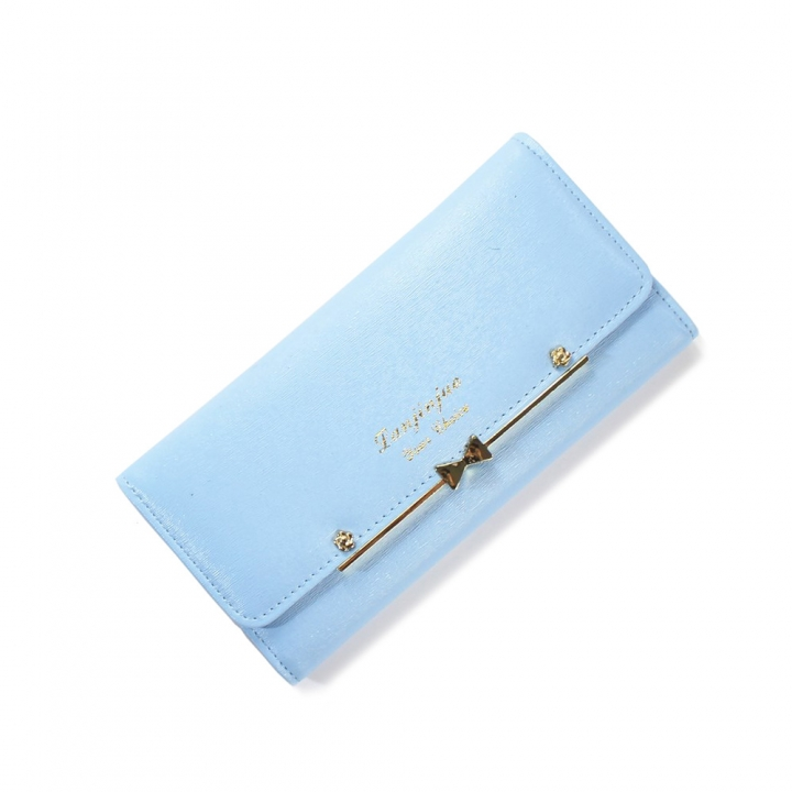 Ms Wallet Buckle Lovely Female Student Three Fold Wallet Female Long Section High Quality Wallet sky blue one size