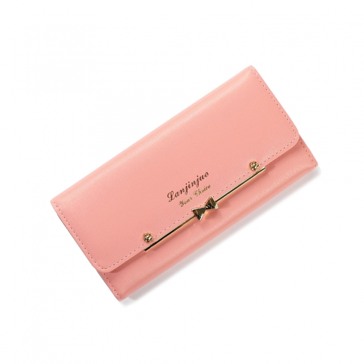 Ms Wallet Buckle Lovely Female Student Three Fold Wallet Female Long Section High Quality Wallet pink red one size