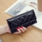 Fashion Female Wallet Patent Leather Lingge Quality Card pack Ms Long Section Wallet black one size