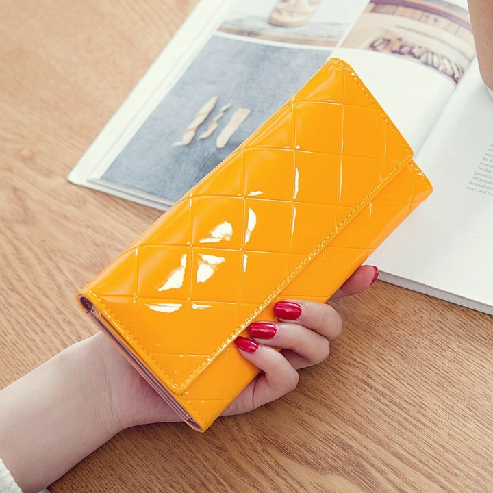 Fashion Female Wallet Patent Leather Lingge Quality Card pack Ms Long Section Wallet yellow one size
