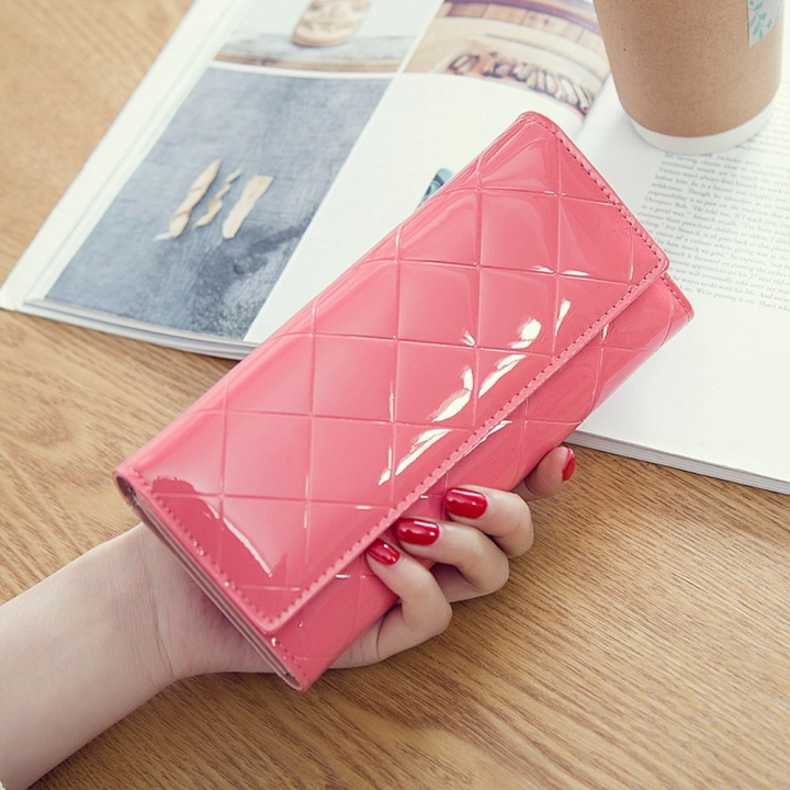 Fashion Female Wallet Patent Leather Lingge Quality Card pack Ms Long Section Wallet watermelon red one size