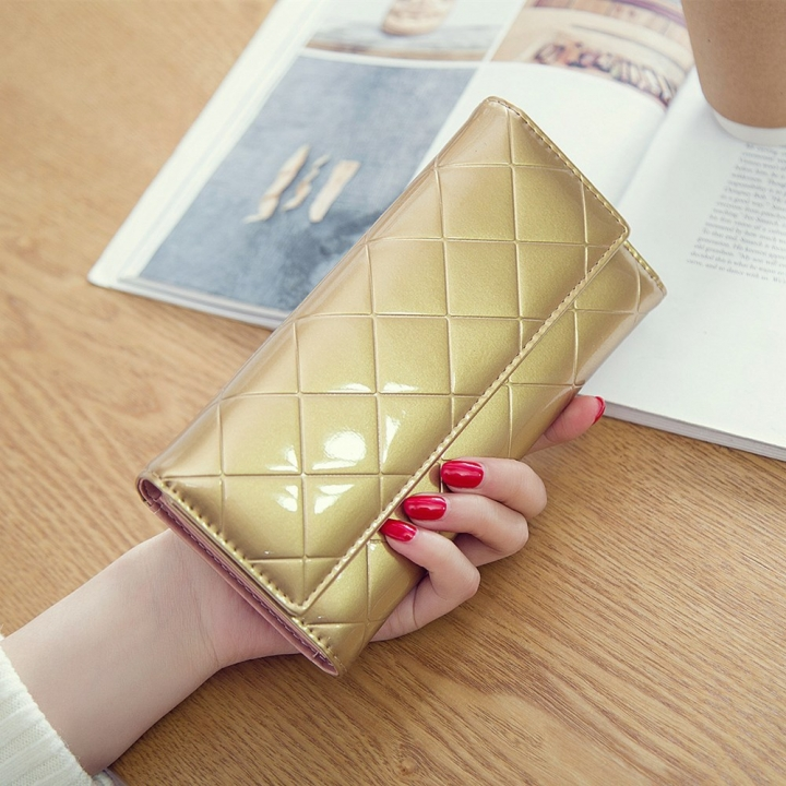 Fashion Female Wallet Patent Leather Lingge Quality Card pack Ms Long Section Wallet golden one size