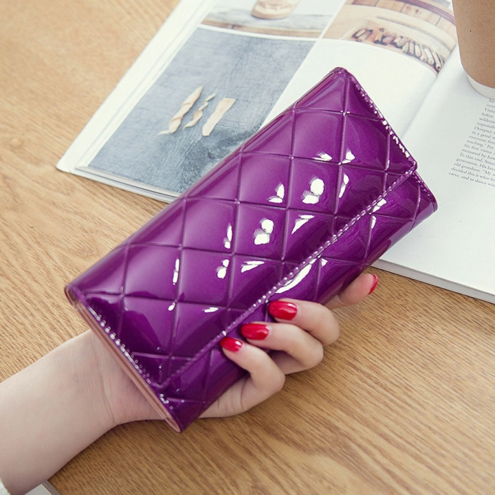 Fashion Female Wallet Patent Leather Lingge Quality Card pack Ms Long Section Wallet purple one size
